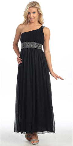 Long Black One Shoulder Evening Gown Chiffon Empire Waist Rhinestone