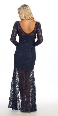 Long Lace Semi Formal Gown Black Long Sleeve Illusion Skirt Back