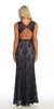 Long Semi Formal Dress Lace Black Nude Scoop Neck Rhinestone Waist