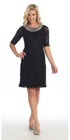 Modest Black Knee Length Semi Formal Dress Short Sleeve Pearl Neck