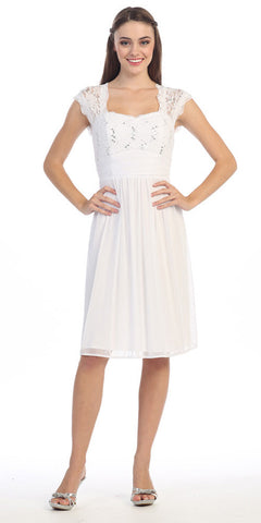 Queen Anne Neck Lace Bodice White Knee Length Dress