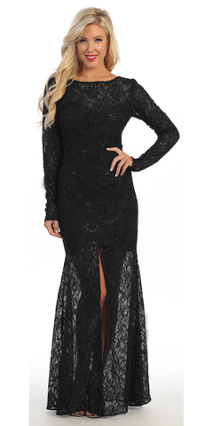 Long Lace Semi Formal Gown Black Long Sleeve Illusion Skirt