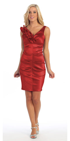 Red Cocktail Dress Taffeta Short Tight Fit Flower Strap V Neck
