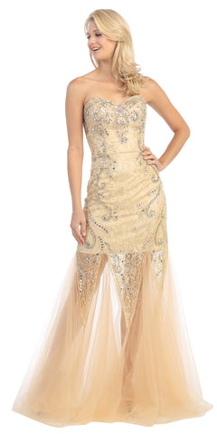 Studded Corset Torso Sheer Skirt Long Champagne Gold Prom Dress