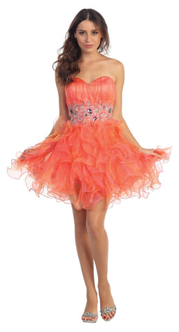 Organza Short Skirt Pleated Bodice Coral Prom Dress