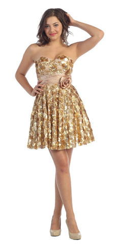 Short Strapless Studded Rosette Motifs Gold Prom Dress