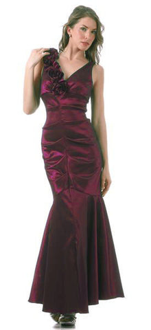 Mermaid Gown Burgundy Long Taffeta Flower Strap Front Slit