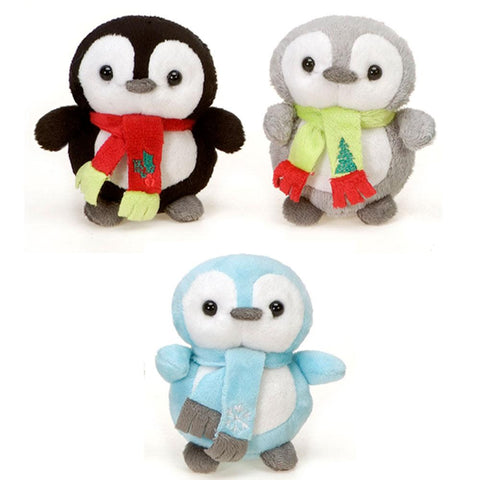 "Mini Christmas Penguin Plush Toy with Scarf - 4"" - Fiesta"