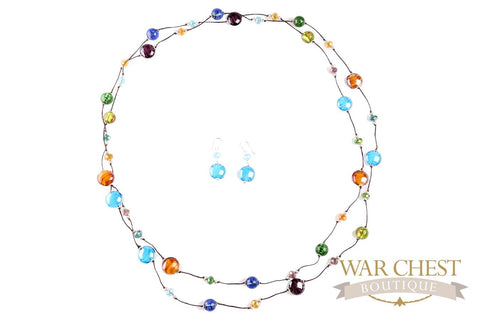 Round Glass Bead Necklace Set