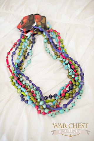 Long Paper Necklace: Colors & Styles Vary