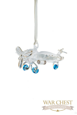 Airplane Glass Ornament Clear - Ornaments - WAR Chest Boutique