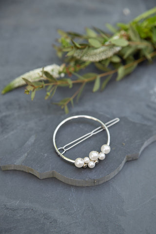 Silver Circle Hair Clip for Women - Jewelry - WAR Chest Boutique