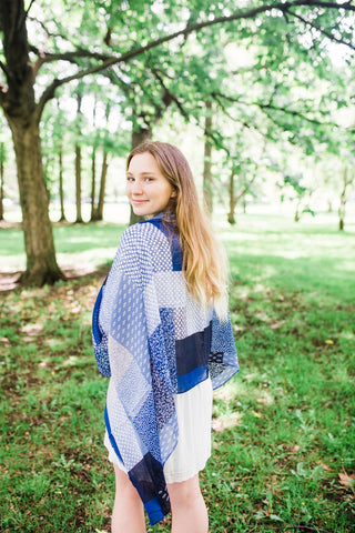 Blue and Tan Block Scarf for Women - Accessories - WAR Chest Boutique