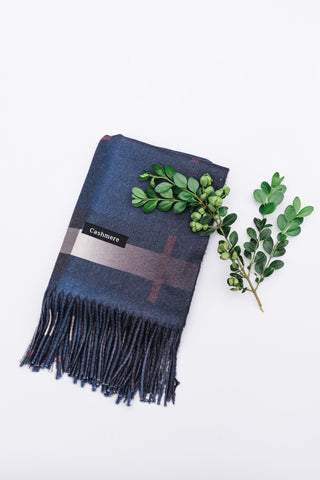 Blue Plaid Cashmere Scarf