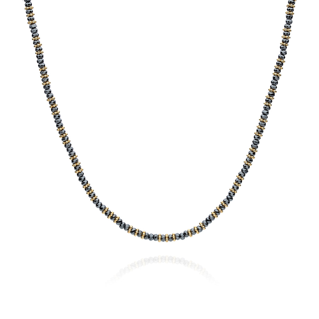 Hematite Beaded Collar Necklace - Gold