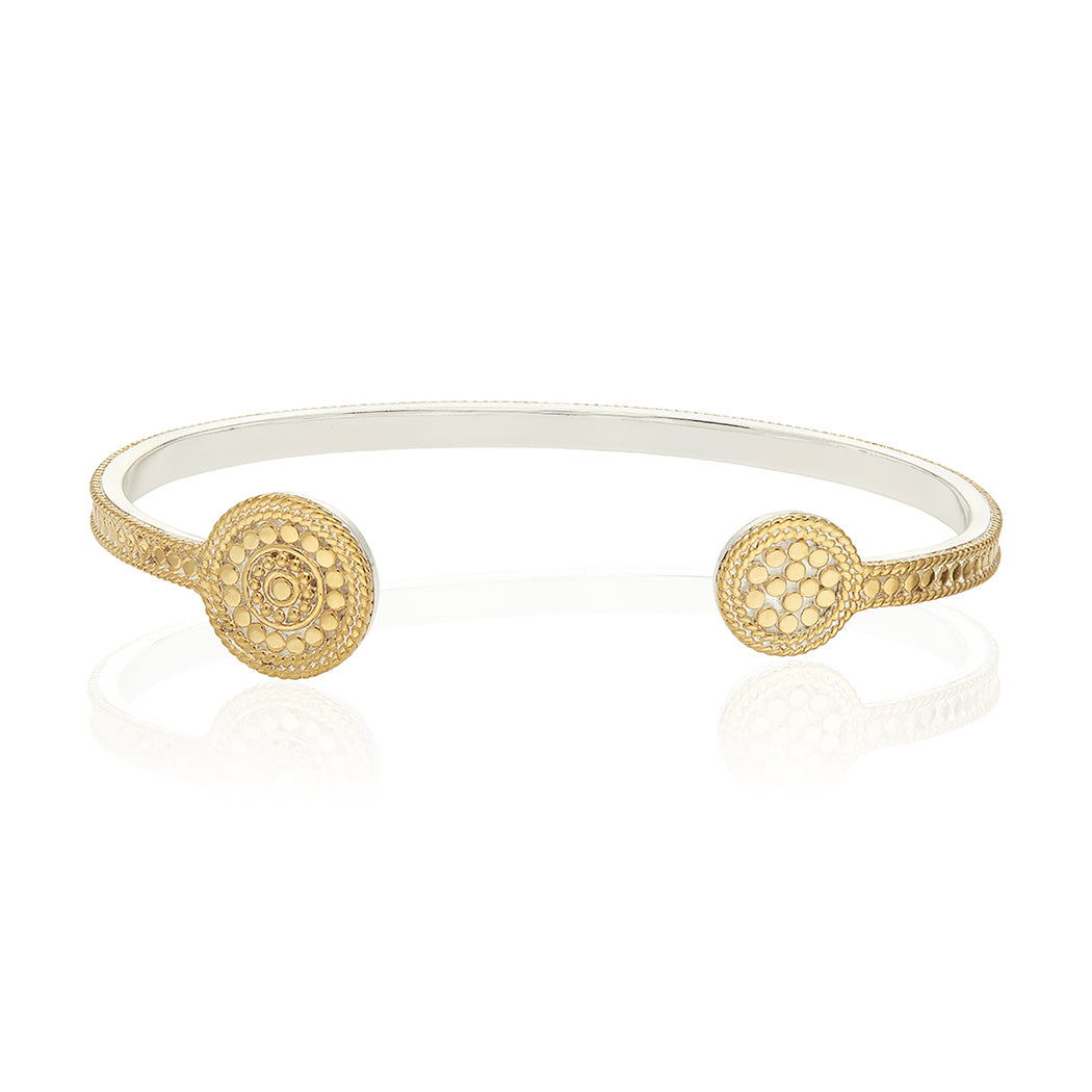 Signature Beaded Circle Open Cuff - Gold