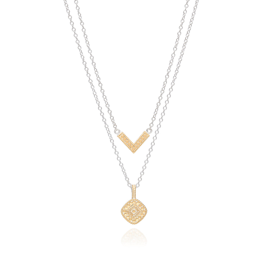Signature Reversible V & Cushion Double Necklace - Gold