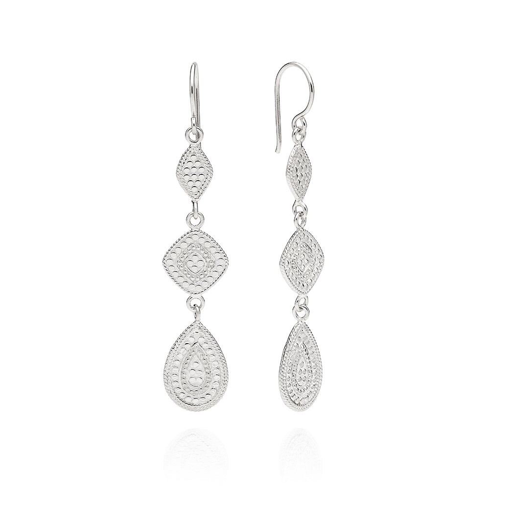 Signature Teardrop Triple Drop Earrings - Silver