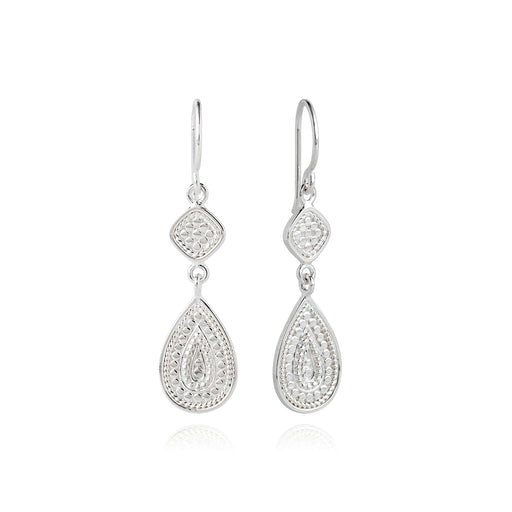 Signature Beaded Double Drop Earrings - Silver