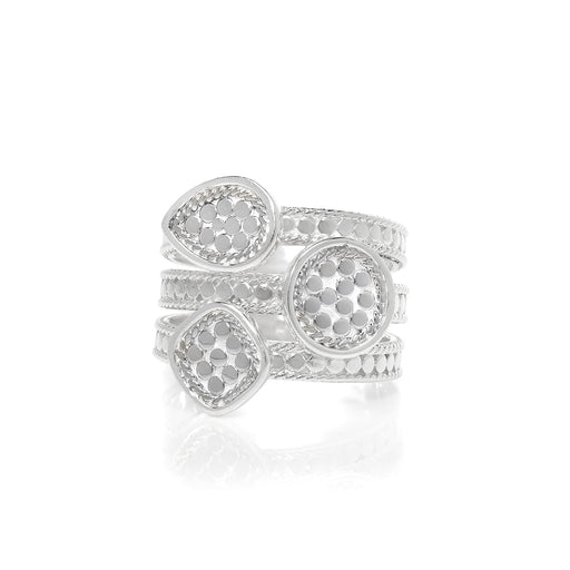 Signature Beaded Triple Ring - Silver