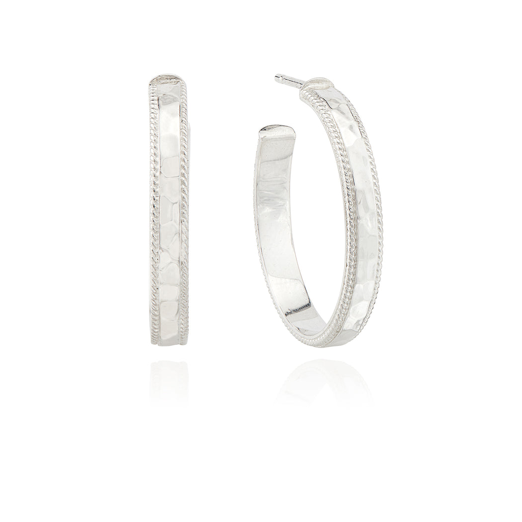 Medium Hammered Hoop Earrings - Silver
