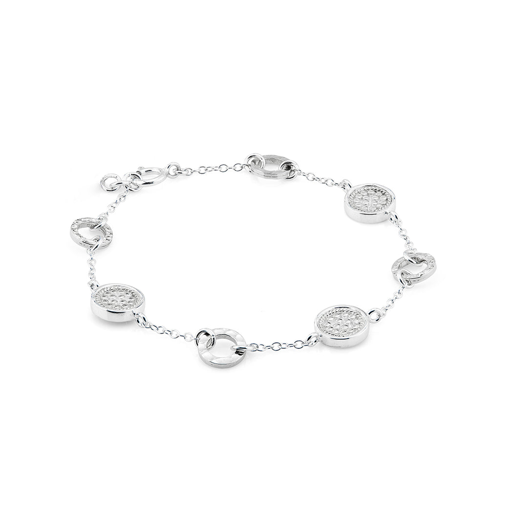 Limited Edition Hammered Station Bracelet - Silver