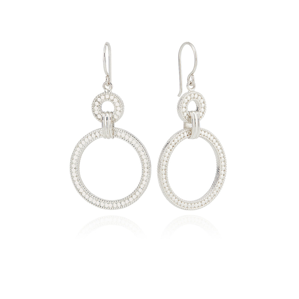 Dotted Double Hoop Earrings - Silver