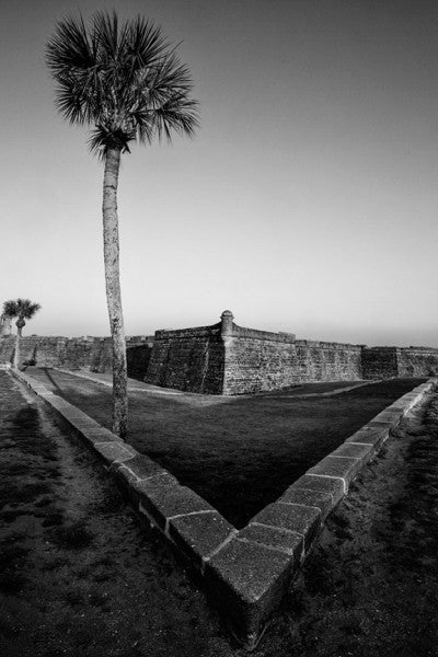 Black and white photograph of The Castillo de San Marcos, St. Augustine's historic Spanish fort built in the late 1600s on the shore of Matanzas Bay.