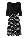 Elegant Women V Neck Polka Dots Patchwork A line Party Dress