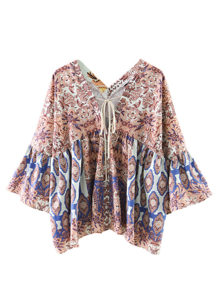 Women 3/4 Flare Sleeve V Neck Printed Vintage Blouse