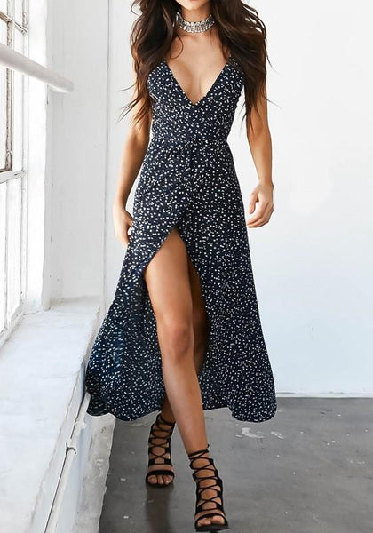 Black Flowers Spaghetti Strap Irregular Side Slit Backless V-neck Fashion Maxi Dress