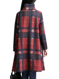 Plus Size Plaid Asymmetric Hem Loose High-Necked Dress
