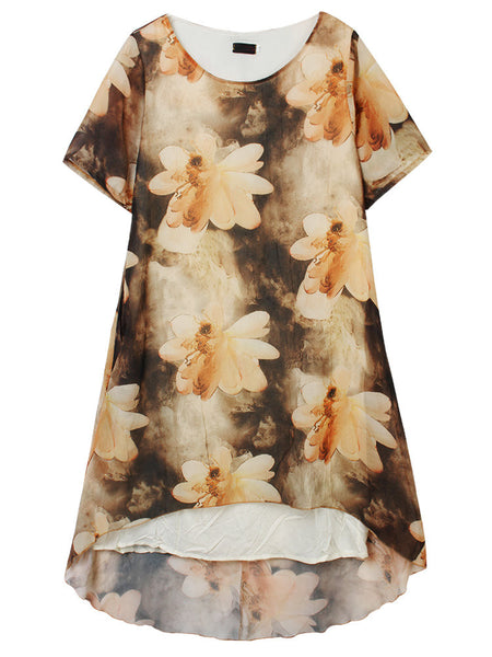 Women Vintage Short Sleeve Round Neck Printed Fake Two-Piece Linen Dress
