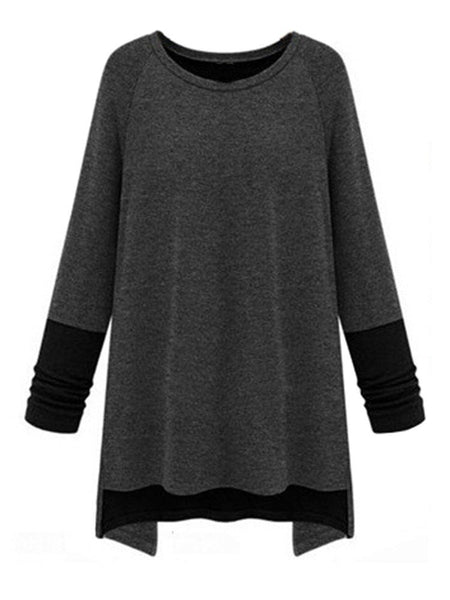 Women Long Sleeve O Neck Contrast Color Irregular T-shirt