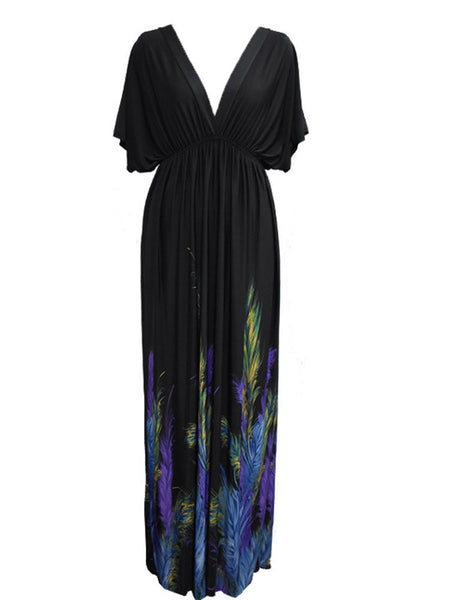 Sexy V Neck Bandage Feather Printed Beach Maxi Dress