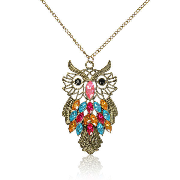 Bronze Owl Colorful Rhinestone Sweater Necklace