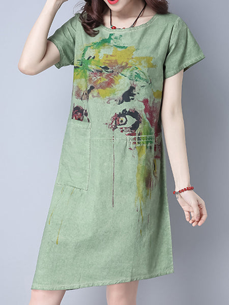 Women Short Sleeve Printed Pocket Vintage Dresses