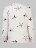 Casual Women Button Starfish Printed Chiffon OL Shirt Blouse
