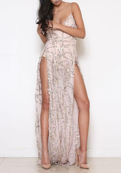 Pink Sequin Grenadine Slit Spaghetti Strap Backless Deep V-neck Party Maxi Dress