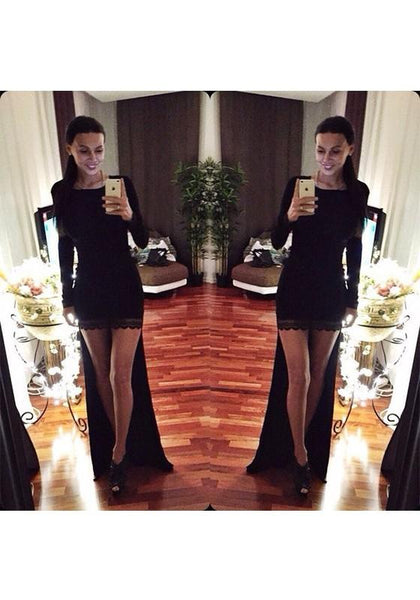 Black Patchwork Lace Irregular Round Neck Fashion Maxi Dress