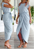 Light Blue Irregular Sashes Slit Short Sleeve Official Casual Party Maxi Dress