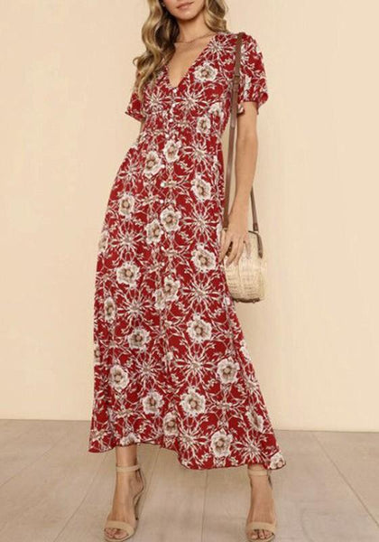 Red Flowers Single Breasted V-neck Bohemian Maxi Dress