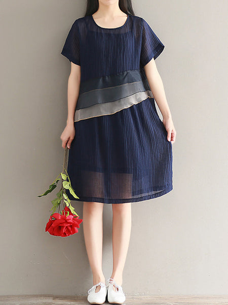 Women Vintage Short Sleeve Patchwork O-neck Dresses