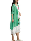 Women Solid High Low Half Sleeve Cotton Linen Cardigan