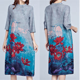 Lotus Print Long Sleeve Stand Collar Women Dresses