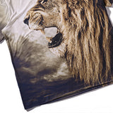 Summer Casual Tee Top 3D Yelling Lion Printed Round Neck Short sleeve T-shirt for Men