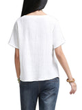 Ethnic Women Short Sleeve V-Neck Cotton Linen T-Shirt