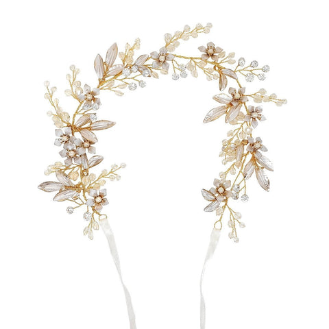 Alessia Gold Crystal Hair vine-Starlet Jewellery