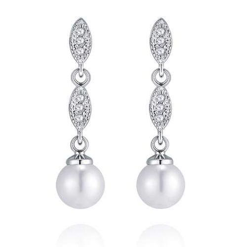 Hannah Pearl and Diamante Wedding Earrings-earri-Starlet Jewellery
