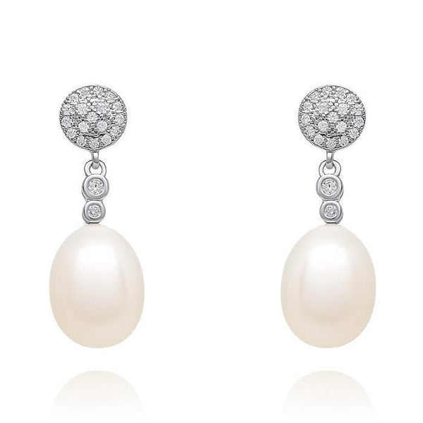 Mia Ivory Freshwater 925 silver pearl earrings-Starlet Jewellery
